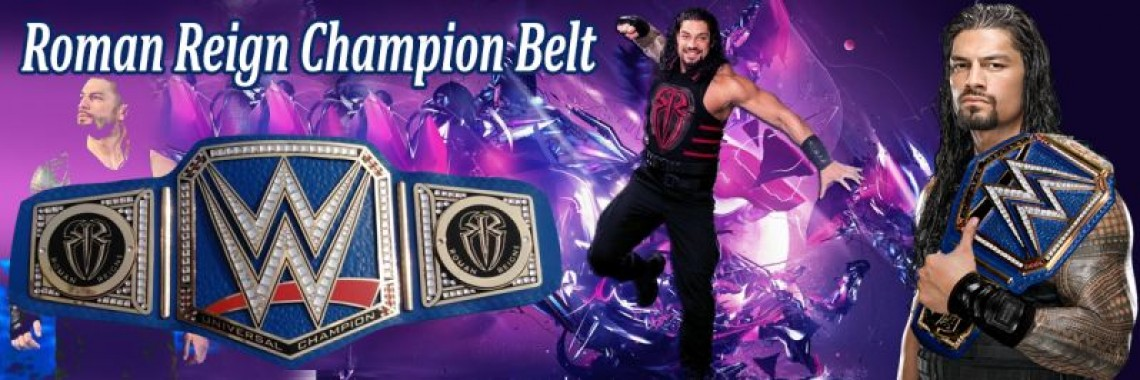 Replica Blue Universal Champion  Belt Holding Roman Reigns